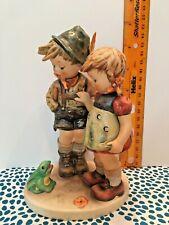 """Goebel Hummel Figurine """"Timid Little Sister� Boy and Girl w/ frog"""