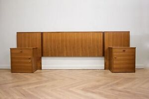 Mid Century Walnut Headboard & Pair Bedside Tables Cabinets by Alfred Cox