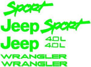 Sport 4.0L Replacement Fender Vinyl Decals Sticker TJ 1 Set