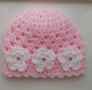 Baby Pink Crochet Hat with 3 lovely Flowers and Hearts Newborn