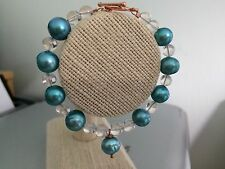 """Clear Quartz and Coated Turquoise Cultured Pearl Threaded 6.75"""" Bracelet"""