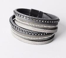 Grey Wrap Faux Leather Bracelet & Bangle Jewellery Birthday Gift B5