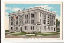 Fargo ND Home Office AOUW (Barry Hall) 1930 WB Post Card