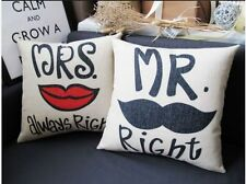 Linen Cotton Natural Rustic Wedding Gift Mr Mrs Couple Cushion Cover Case Modern
