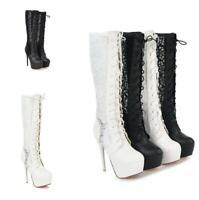 Womens High Stilettos Heels Platform Hollow Leather Mesh Lace Up Round Toe Ske15