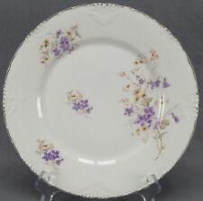 Set of 4 Hermann Ohme Purple & White Floral Dinner Plates Circa 1920 - 1930