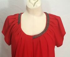 Embellished Tunic Draped Blouse Women's Short Sleeve FYLO Top Size SMALL Chain