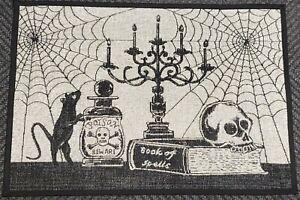 """TAPESTRY KITCHEN RUG (20""""x30"""") HALLOWEEN THEME,BLACK CAT,POISON & SPIDERWEB,ET"""