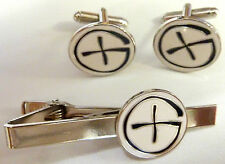 GeoCaching Cache Boy Scouts Geocoin Pathtag gps LOGO TIE BAR CUFFLINKS SET