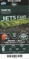 2013 NFL CLEVELAND BROWNS @ NEW YORK JETS FULL UNUSED FOOTBALL TICKET