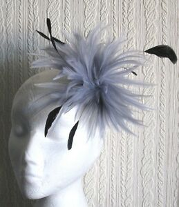 grey fascinator millinery feather brooch hair clip piece hat wedding race ascot