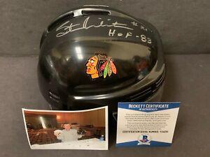 Stan Mikita Blackhawks Autographed Signed Mini Helmet BECKETT COA HOF 83 Black 1