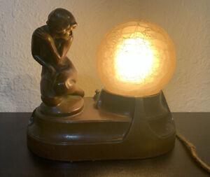 Art Deco Nouveau Nude Figural Desk Lamp with Globe, Possible a Frankfurt