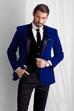 Royal Blue Men's Velvet Groom Tuxedos Groomsman Best Man Bridegroom New Suits