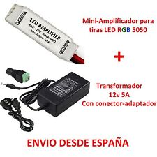 Kit Mini Amplificador para Tiras Led RGB + Transformador 5A 5050 3528 Amplifier