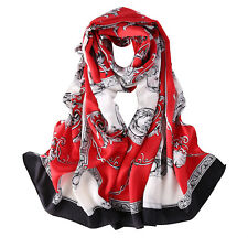 Long Silk Satin Scarf Red Theme Links and Belts Print LZD026