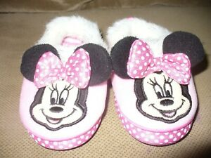 Toddler Girls PINK POLKA DOT MINNIE MOUSE SLIPPERS Fabric DISNEY Size M 7-8