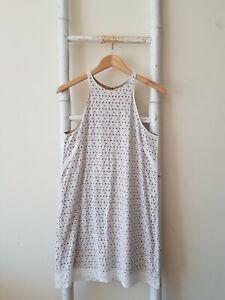 Lovely GORMAN White Eyelet Lace Mini Shift Dress Size 10 S EUC