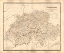 1844 LARGE ANTIQUE MAP- JOHNSTON -SWITZERLAND WITH COMPARATIVE HEIGHTS OF PASSES