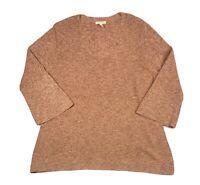 Eileen Fisher Orange Pekoe Organic Cotton Medley V-Neck Sweater Women's Size L