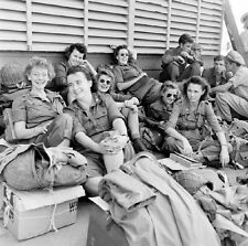 WWII Photo US Army Nurses Guam 1945  WW2 B&W World War Two Female Medical / 1373