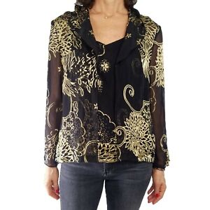 ALEX EVENINGS Sz L Black Gold Beaded Twinset Silk Burnout Dressy Blouse Tank Set