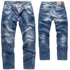 Rock Creek Herren Jeans Hose Denim Slim Fit Blau Used-Look Herrenjeans RC-2162