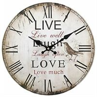 Jones Home and Gift Live, Laugh, Love Clock, Multi-Colour, 34 cm