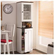 Tall Kitchen Hutch Narrow White Cabinet Storage Pantry Food Organizer Cupboard