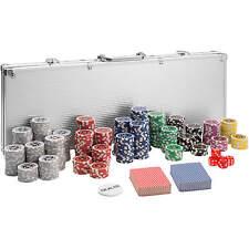 Maletín Póker set aluminio plateado 500 fichas láser poker chips + accesorios NU