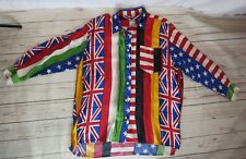 Women's Vintage Rare Moschino Patchwork Flag Shirt 3/4 SL Metal Button Front EVC