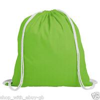 10 x Plain Green 100% Cotton Drawstring Rucksack Tote Bags Ladies Backpack Bag