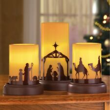 Set of 3 LED Flameless Nativity Scene Christmas Tabletop Candles