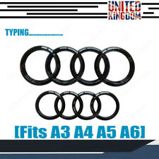 Set Front & Rear Grille Badge Rings Logo Emblem for Audi A3 A4 A5 A6 Black Gloss
