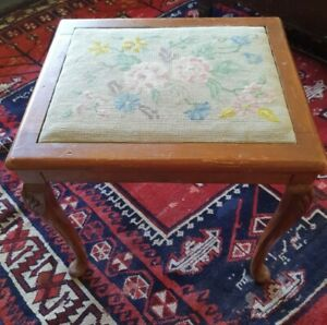 Vintage little piano stool cabriole legs and tapestry top