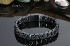 CHUNKY BLACK LINK CURB BRACELET - MENS PUNK BIKER BANGLE WITH GIFTBOX