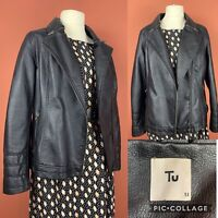 TU Black Faux Leather Biker Jacket UK18 Zip Detail Vegan
