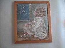 "Vintage Framed Needlepoint Canvas, 13"" x 11"""