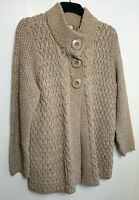 M&S CHUNKY CABLE KNIT CARDIGAN JUMPER COAT UK 20 BEIGE WOOL ALPACA BLEND 576