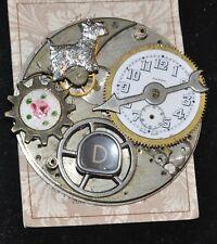 Steampunk Brooch watch parts Scottie Dog Barbara's Buttons original card