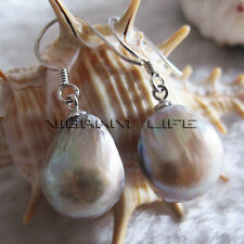 11-12mm  Gray Baroque Freshwater Mother of Pearl Dangle Earrings D2S  UE