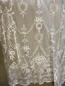 Victorianna Design Ivory Cotton Lace Curtain c1900s period 130/160cms