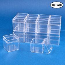 18Pcs Plastic  Bead Storage Container jars, Cube, Clear,  4x4x4cm