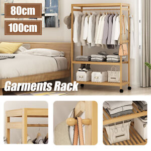 2-Tier Wooden Clothes Garment Hanging Stand Rack Household Clothes Storag