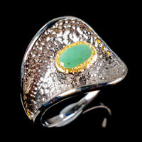 Handmade Natural Emerald 925 Sterling Silver Ring Size 9/R112957