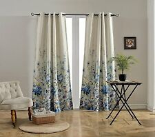 "Floral Print Grommet Insulated Faux Linen Darkening Curtains 52""x84"" Multicolor"