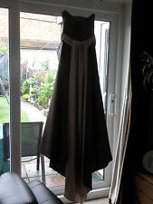 BRIDESMAID/PROM DRESS - COFFEE/CHOCOLATE WITH CREAM  APPROX SIZE 8/10 TRIM