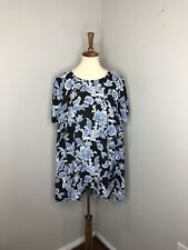 Plus Vince Camuto Black Blue Floral Shortsleeve Blouse Top Tunic Career 1X