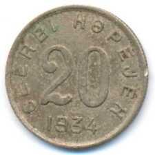 Russia Tannu Tuva Peoples Republic Copper-Nickel 20 Kopeks 1934 VF RARE***