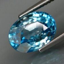 Zircon bleu en ovale facetté de 4.82Cts